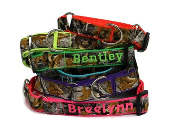Personalized Camo Martingale Dog Collar made with Realtree Fabric Martingale Collar for hunting dog collar personalized camouflage