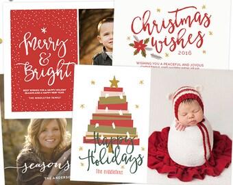 Christmas Card Templates for Photographers, Christmas Card Templates for Photoshop, Holiday Card Templates, Christmas Card Digital HC8891