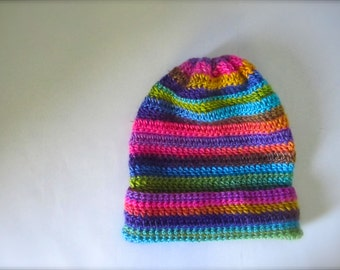Crochet Turquoise Teal Blue Yellow Green Purple Gold Orange Brown Green Hot Pink Fuchsia Rainbow Striped Slouchy Hat, Beanie Hat, Adult Hat