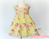 Little Girls Dresses, Yellow Dress, Boutique Dresses, Yellow Floral Dress, Big Bows, Sunday Dress, Easter Dress, Size 3T