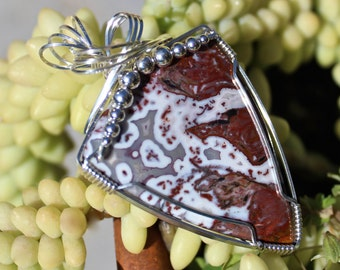 Crazy Lace Agate Pendant, Stone Pendant, Argentium Sterling Silver Wire Wrapped, Handmade Stone Jewelry, Necklace Free Shipping USA