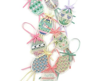 Easter Ornament - Cross Stitch Easter Ornament - Beaded Easter Ornament - Easter Ornament Set - Egg Ornament - Free Shipping - 2HTT15