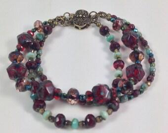 Three Strands Czech Glass Bracelet