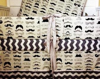 Custom Grey Mustache Chevron Platinum Crib Set
