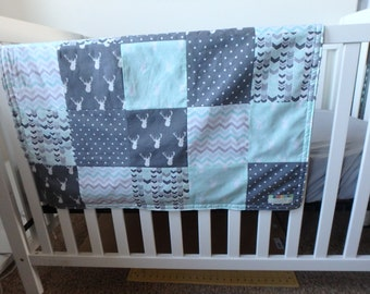 Mint and Gray Deer Patchwork Baby Minky Blanket or Quilt