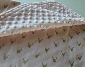 Light Pink with Gold Deer Minky Blanket