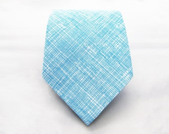 Men's Necktie - Aqua Crosshatch