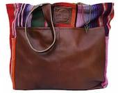 Diaper Bag Sayulita Red- Handmade Bohemian Fabric & Leather -Environmentally Conscious- purse/antique/pouch/hand bag/designer/vintage/tote