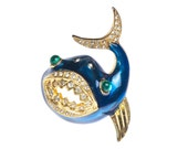 Reserved - Vintage Enamel & Rhinestone Fish Shark Brooch Pin Signed LIA