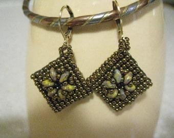 "Beaded Diamond Shaped Earrings 1-1/2""L"