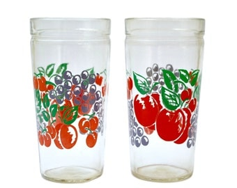 Set of 2 tumblers by Anchor Hocking - Fruit Cherries, Grapes & Apples