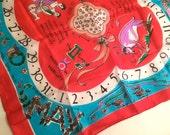 Beautiful Vintage May Gemini Taurus Birthday Silk Scarf, Zodiac Astrology