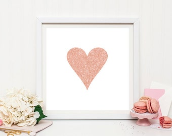 Rose gold heart print - rose gold print, Valentine's Day Gift, Love Heart Print, Love Wall Decor, Love Heart
