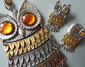 1960s Mod Parklane articulated owl necklace and earrings jewelry set abstract Avant Garde ab fab
