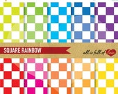 80% off Chess pattern Digital Paper RAINBOW Scrapbook Background SQUARES Digital Download 12/15
