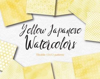 Yellow Digital Paper Yellow Gift Wrapping Paper Watercolor Digital Paper Pack Oriental Digital Graphics Yellow patterns