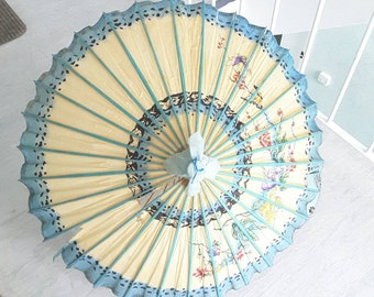 Art Deco Japanese Paper Parasol with Turquoise Floral Motif / Antique Vintage Sun Umbrella / Collectible Prop