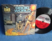 """Vintage, """"Star Wars, Droid World The Further Adventures"""" John Williams, Story Music, Photos, Read Along, 7"""" Vinyl and Book Set, Record Album"""