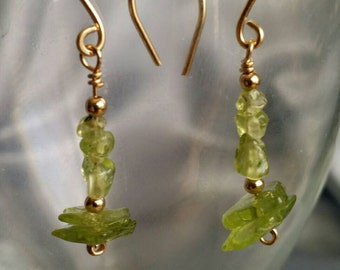 Peridot Earrings, Handcrafted Gold Fill earrings with genuine Peridot gemstones -- Sparkling Festive Green (#1393)