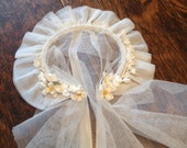 Vintage First Communion Veil - Scalloped Edge, Millinery Flowers, Ruffles and Ribbons