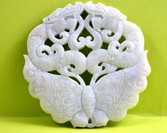 Antique Style Blessing Long Life Talisman ,Large White Jade Carved Butterfly Dargon Turtle Pendant , Marble Amulet ,White Jade Pendant