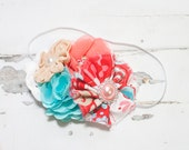 High Tide  - headband in melon, coral pink, red, light pink, aqua, tan and white (RTS)