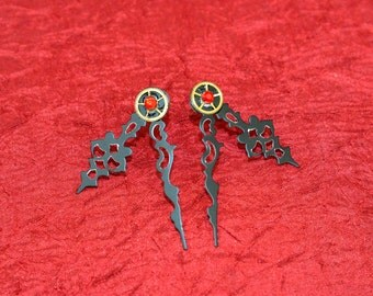 Black Clock-Hand with Brass Gears and Crystals Earrings