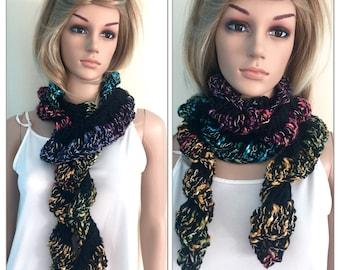 Handmade cascade scarf frilly infinity scarflette cowl womens autumn accessories crochet knit hippie boho unique designer sale multi black