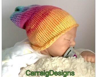 SPECIAL OFFER 30% OFF, Baby girl Newborn 0-3 months cap,hand knit hippie slouch beanie unique kids  hats shower gift photo prop ooak rainbow