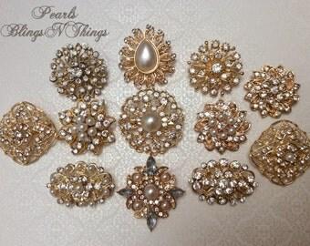 SALE 20 pc Assortment Medium Pearl and Crystal Rhinestone SILVER Metal Embellishments Button BroochWedding Invitation