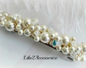 Pearl Bridal Barrette, Wedding Barrette, Pearl Hair Accessory, French Barrette, Cream Ivory White, Wedding Hair Clip, Beaded Pearl Barrette