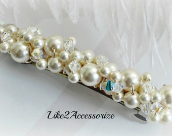 Pearl Bridal Barrette, Wedding Barrette, Pearl Hair Accessory, French Barrette, Cream Ivory White, Wedding Hair Clip, Beaded Pearl Barrette