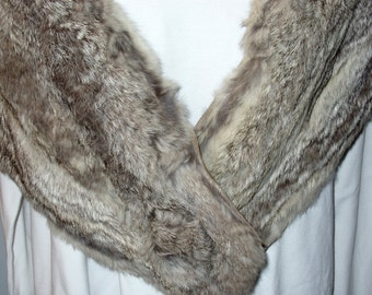 Brown and White Rabbit Fur Stole Early to Mid 20th Century