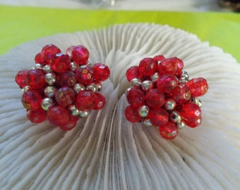 Stunning Vintage Clip Ons-Red Beaded Clusters-C2485