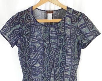 80s vintage KENZO Paris tribal print fine mesh T shirt/ abstract indigo blue + turquoise: FR40= US 6-8