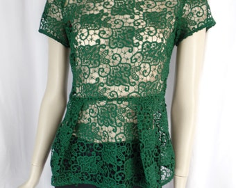 Emerald Green French lace peplum top/ brass back buttons/short sleeve: size  xsmall ( US4-6)