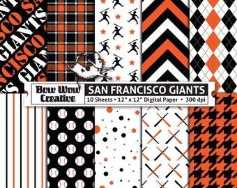 10 San Francisco Giants Digital Papers for Scrapbooking, Digital Paper, Digital Scrapbook Paper, Printable Sheets, Baseball, Patterns