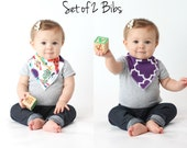 Set of Two Reversible Baby Bandana Bib Scarves with Moisture Wicking Inner Layer Purple Quatrefoil & Wild Feathers, Hold Me Close