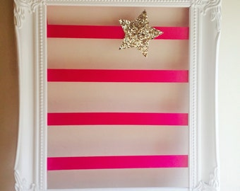 Hair clip organiser with hot pink ribbon