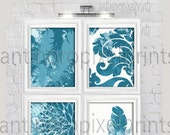 """Art Feather Thankful Teal Turquoise Watercolor Set of (4) Wall Art Prints, Custom Colors Sizes Available Click """"Select a size""""  #279500624"""