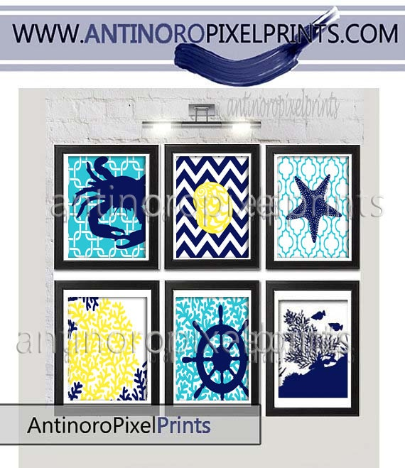 Bright turquoise navy blue yellow art print beach house prints for Beach house prints