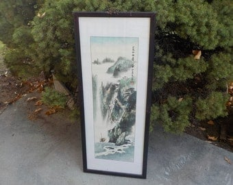 Asian Water Color, Scroll, Lithograph ? Not Sure High Mountain Scene with 1 Boats #3 /NOT INCLUDED In Any Discount or Couon Sales