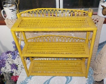 Wicker Shelf, Vintage Wicker Shelf, Vintage  Wicker,  Mustard Colored Yellow Wicker and Rattan Wall Shelf, Vintage Home Decor, Home Decor,