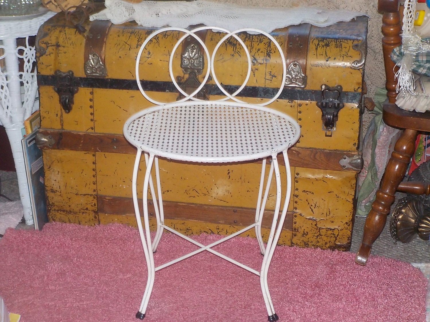 Dressing Table Vanity Metal Small Chair By Daysgonebytreasures