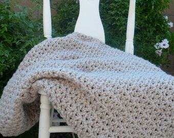 Chunky Crochet Blanket / Wool Blanket / Beige Throw Blanket / Chunky Blanket / Soft Handmade Blanket