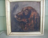 RESERVED FOR BELCHER Antique Oil Painting, Man's Best Friend, Setter Dog,  Gold Frame with Antique Finish