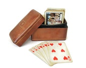 Vintage Leather Playing Card Box, Made in Italy, Gift for Men, Game Room