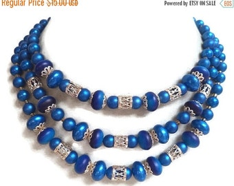 Vintage Triple Strand Blue Bead Necklace Signed Japan, Lucite Beads, Silver Tone Filigree Retro Rockabilly