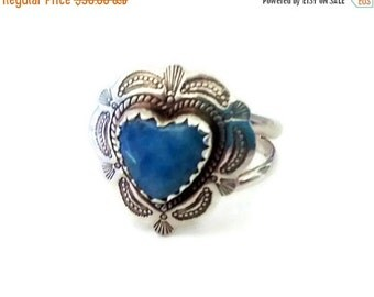 ON SALE Sterling Silver Concho Ring, Signed QT, Denim Lapis Cowgirl Ring, Southwestern Jewelry, Boho , Size 8