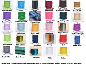 2mm Satin Rat Tail Cord (5 yards/15 feet) multiple colors available